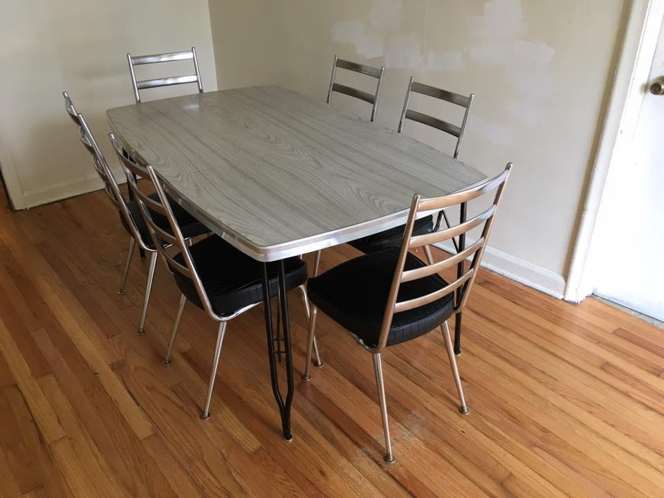 Late 1950u0027s Authentic Chromcraft Full Dining Table U0026 Chair Set   Image ...