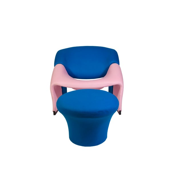 Pierre Paulin Oscar De La Renta Cashmere Upholstered Chairs & Ottomans- 4 Pieces - Image 9 of 10