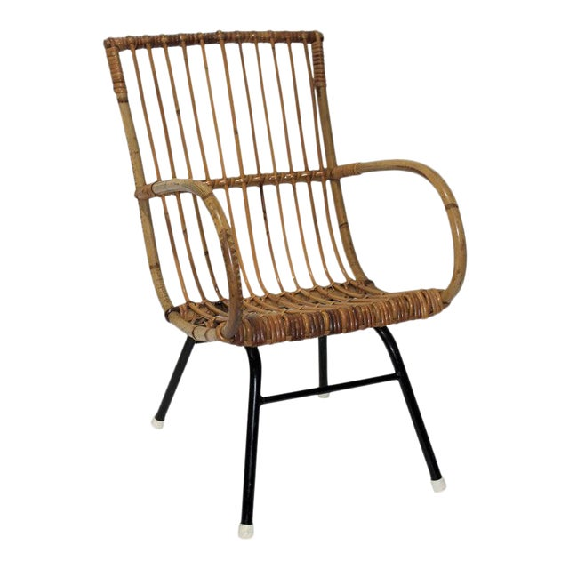 Mid-Century Modern Franco Albini Style Child's Chair Bamboo and Rattan For Sale