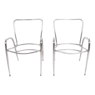 Pair of Sculptural Brown Jordan Aluminum Patio Chairs After Walter Lamb For Sale