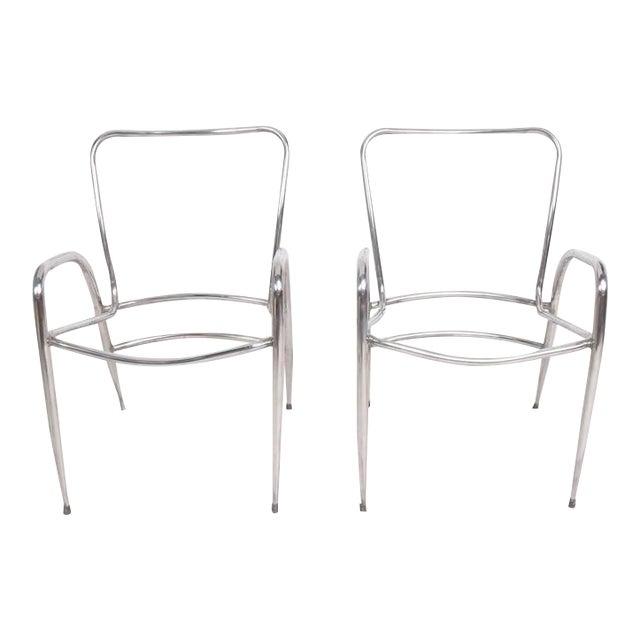 Pair of Sculptural Brown Jordan Aluminum Patio Chairs After Walter Lamb For Sale