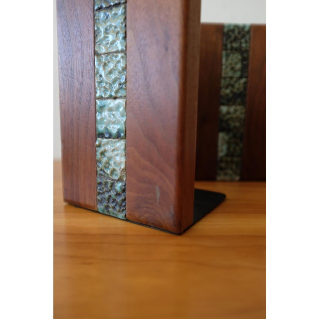 Wood Martz Bookends for Marshall Studios Walnut and Ceramic For Sale - Image 7 of 10