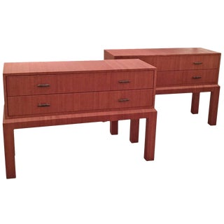 Pair of Raffia-Wrapped Chests on Stands in the Style of Karl Springer For Sale