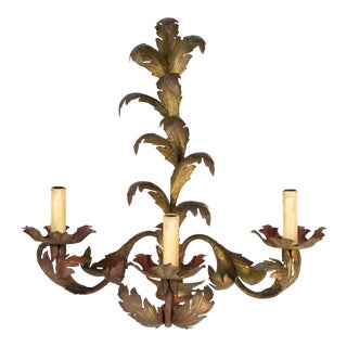 Italian Tole Leaves Three Light Sconce For Sale