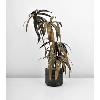 Illuminated Brutalist Palm Tree Sculpture in Paul Evans Style Pot, Circa 1970 Preview