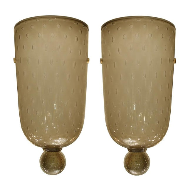 """Blown Glass Seguso """"Bulicante"""" Glass Sconces - A Pair For Sale - Image 7 of 7"""