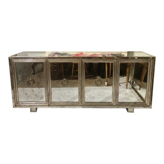 Authentic James Mont Regency Mirrored Silver Leaf Credenza For Sale