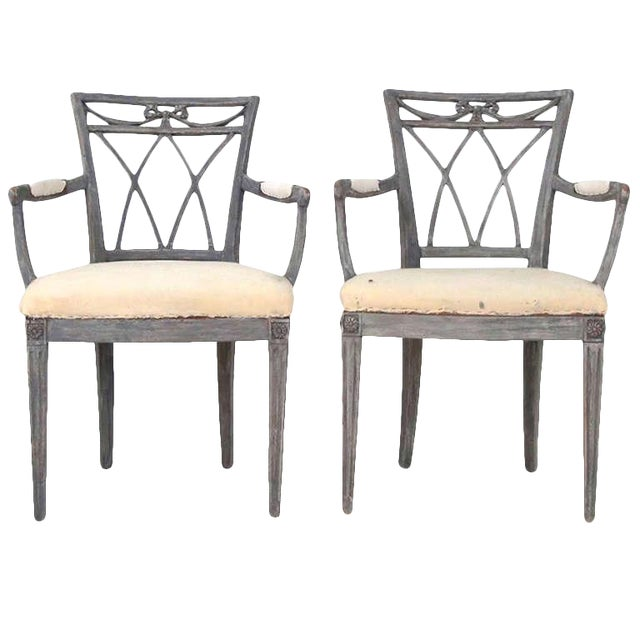 Swedish Carved Armchairs - a Pair For Sale