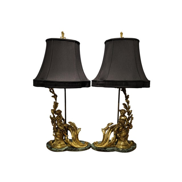 19th Century French Ormolu Chenet Lamps With Shades - a Pair For Sale