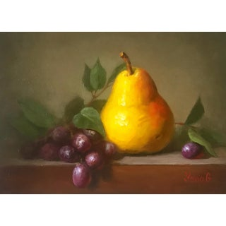 Pear and Grapes Still Life Painting For Sale