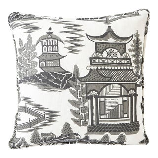 Schumacher Nanjing Square Smoke Grey 18x18 Pillow - Pair For Sale