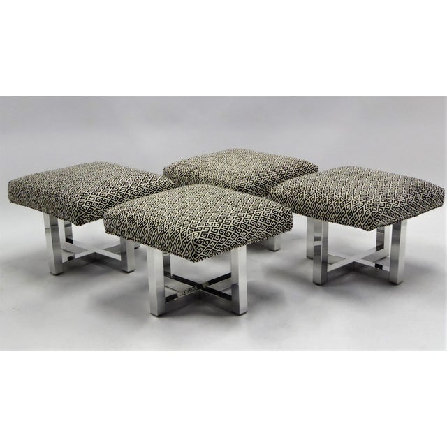 Pair of 1960s Polished Aluminum Upholstered Stools Benches( Two Pairs Available) For Sale - Image 11 of 11