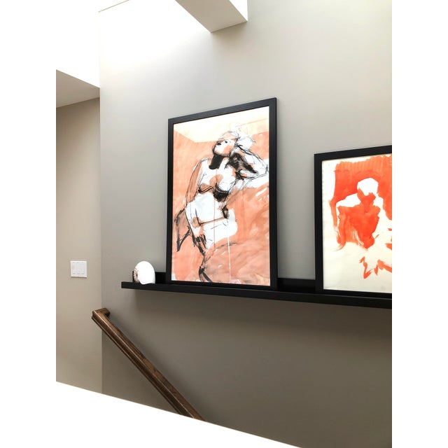 """Contemporary Figure Drawing in Orange and Black, """"Gloria Gesture in Orange"""" by David O. Smith For Sale In Seattle - Image 6 of 12"""