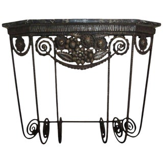1930s French Art Deco Edgar Brandt Inspired Wrought Iron Console Table For Sale