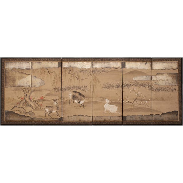 Asian 19th Century Late Edo Era Gold Leaf Japanese Byobu Screens- a Pair For Sale - Image 3 of 13