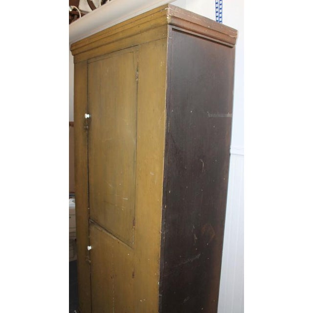 Early American 19th Century New England Original Painted Two-Door Wall Cupboard For Sale - Image 3 of 8