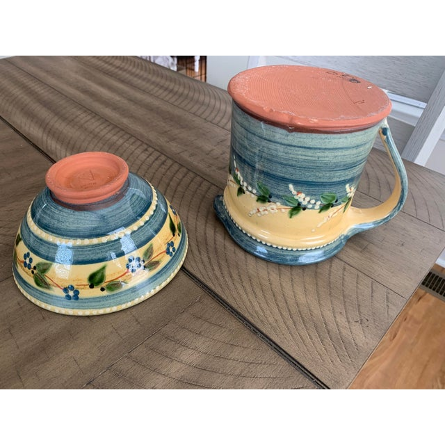 Vintage French Country Hand-Painted & Glazed Terra Cotta Pottery Pitcher Jug & Bowl Set- 2 Pieces For Sale In Lexington, KY - Image 6 of 13