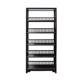 Distressed Black 5-Shelf Bookcase For Sale