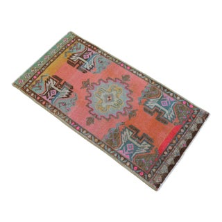 Distressed Low Pile Rug Turkish Yastik Petite Rug Hand Knotted Faded Mat - 20'' X 39'' For Sale