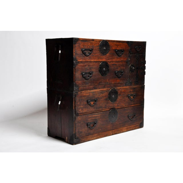 Asian Japanese Tansu With Black Color Hardware For Sale - Image 3 of 13