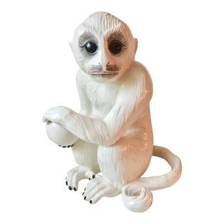 "Vintage 18""Italian Faience Capuchin Monkey For Sale"