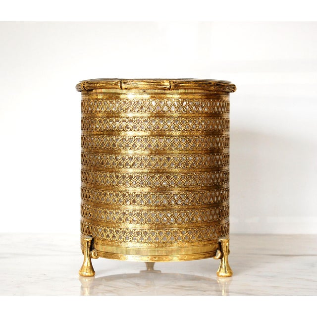 Hollywood Regency Gold Waste Basket For Sale In Raleigh - Image 6 of 6