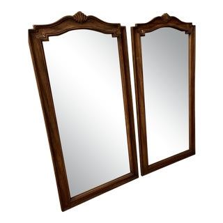 Mid-Century Arched Walnut-Framed Mirrors - a Pair For Sale