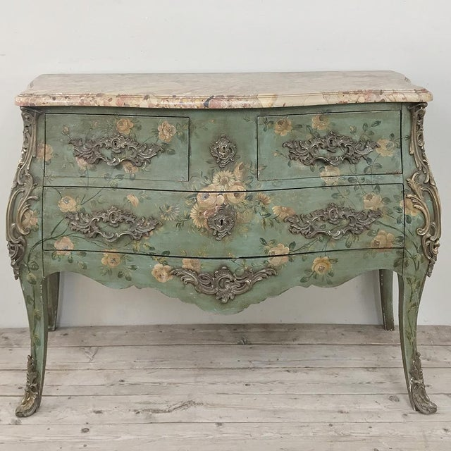 19th Century French Louis XV Painted Marble Top Commode For Sale - Image 13 of 13