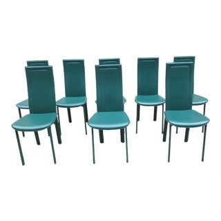 1980s Italian Forest Green Leather Dining Chairs - Set of 8 For Sale