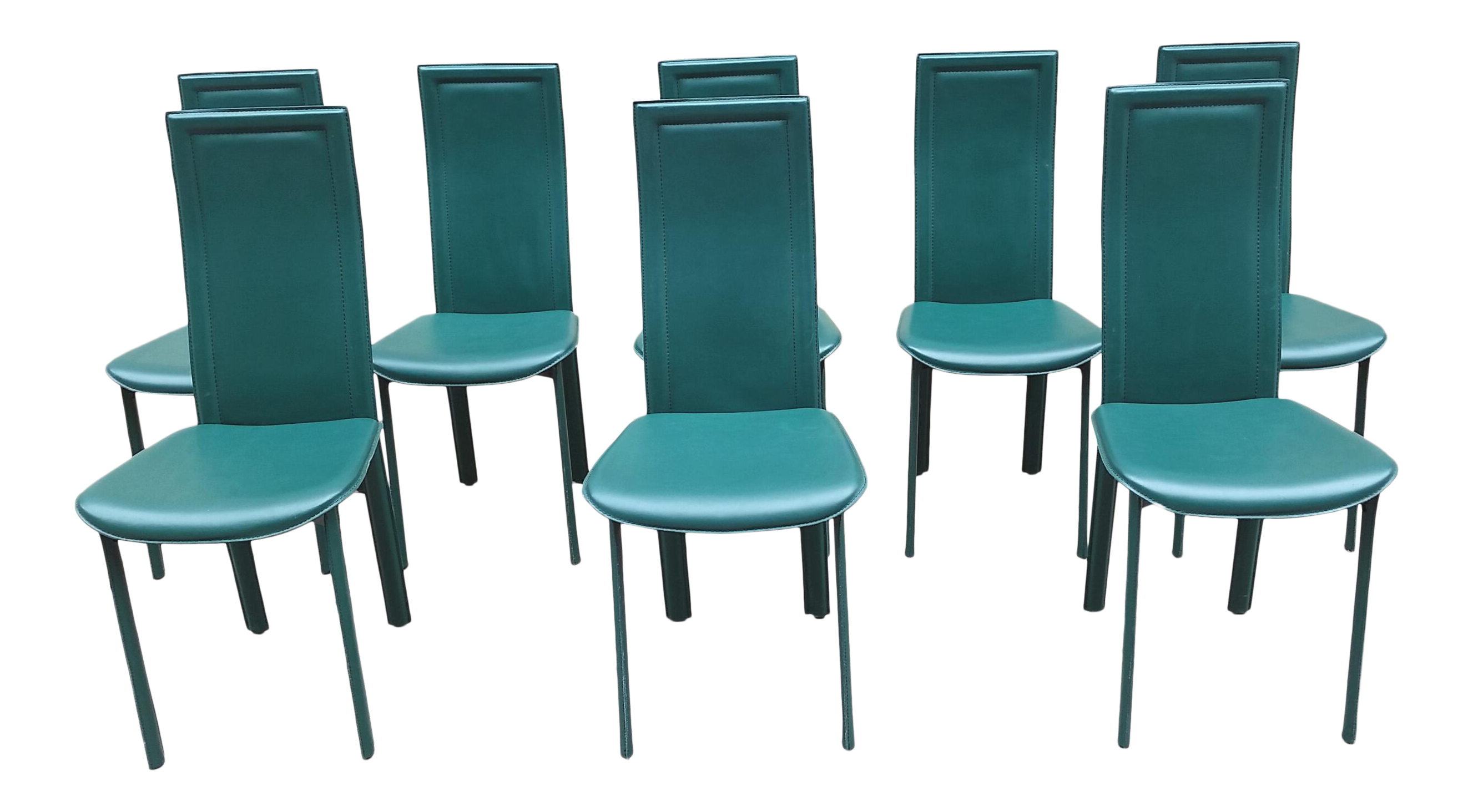 1980s Italian Forest Green Leather Dining Chairs - Set of 8  sc 1 st  Chairish & 1980s Italian Forest Green Leather Dining Chairs - Set of 8 | Chairish