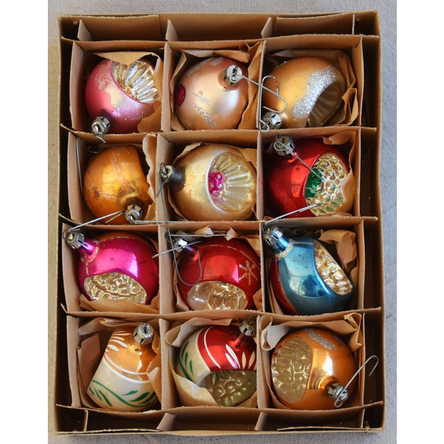 Vintage Fancy Indent Christmas Ornaments W/Box - Set of 12 For Sale - Image 4 of 9