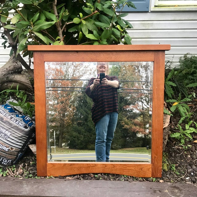 Wood Mid-Century Beveled Mirror in Sturdy Frame For Sale - Image 7 of 7