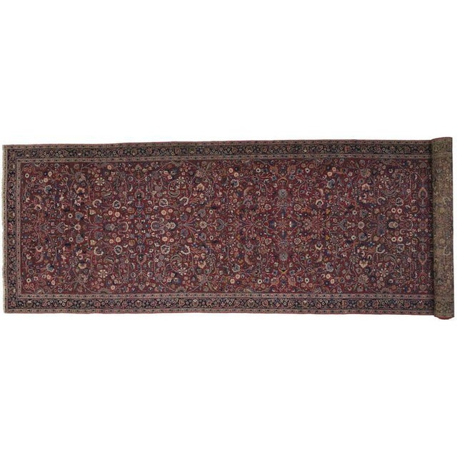 Antique Persian Mashad Extra Long Hallway Runner- 5'7 X 22'00 For Sale In Dallas - Image 6 of 9