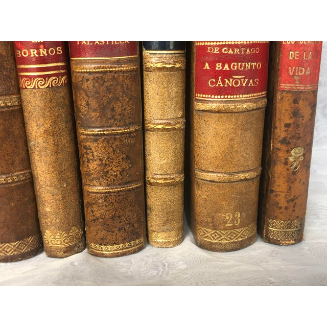Antique Leather Bound Spanish Books - Set of 8 For Sale In New York - Image 6 of 13