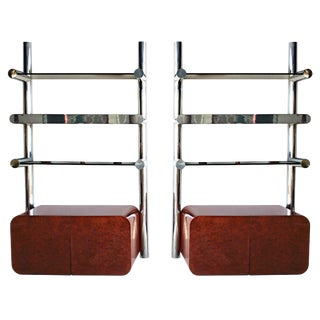 1970s Pace Collection Wall Mounted Shelves With Cabinets - a Pair For Sale