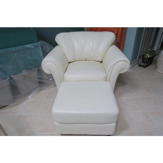 Art Deco White Leather Chair & Ottoman - 2 Pieces For Sale - Image 10 of 10