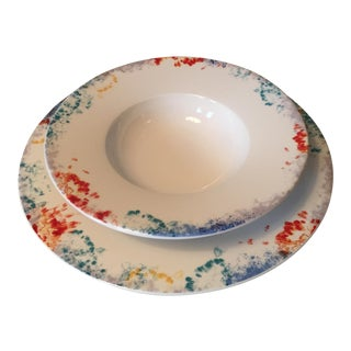 Villeroy & Boch Abstract Colorful Porcelain Plates - a Pair