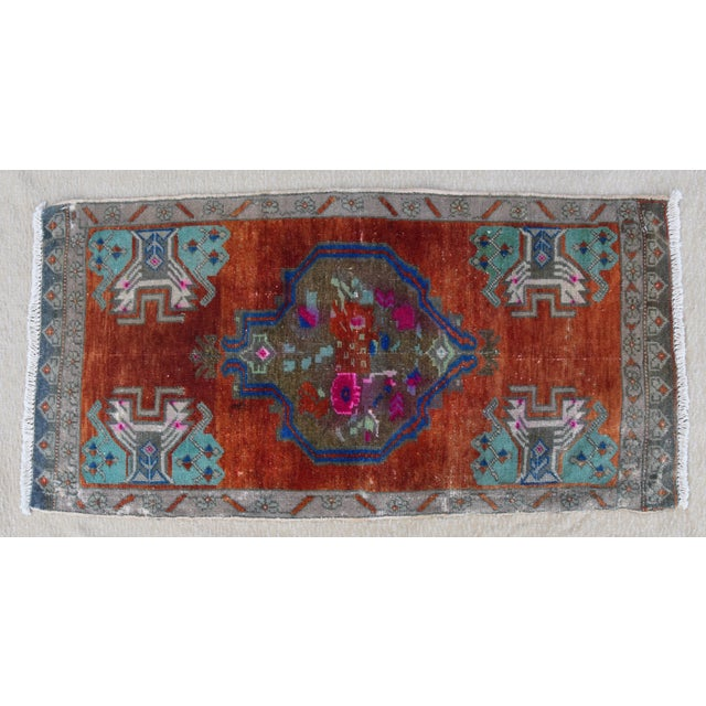 """Cotton Early 20th Century Turkish Accent Rug - 1'10"""" X 3'7"""" For Sale - Image 7 of 8"""