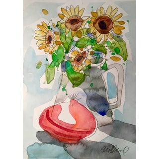 Still Life Onion & Sunflower Painting For Sale