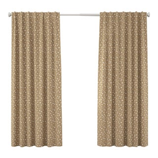 "96"" Curtain in Camel Dot by Angela Chrusciaki Blehm for Chairish For Sale"