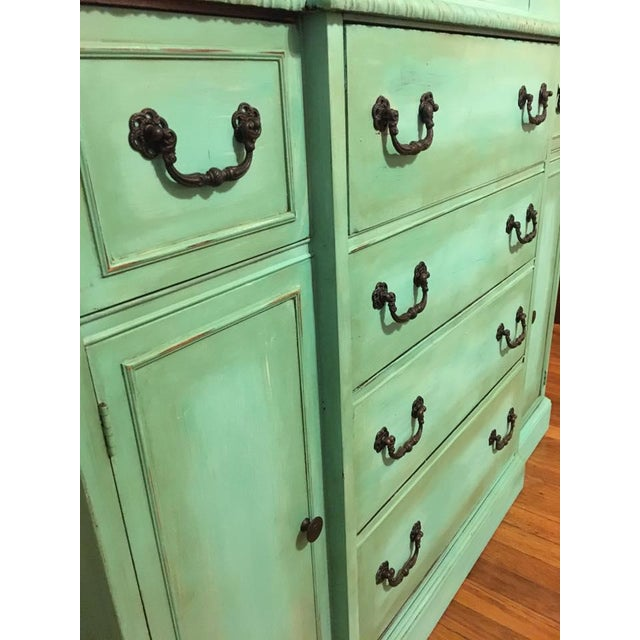 Vintage Green China Cabinet For Sale In Kansas City - Image 6 of 8