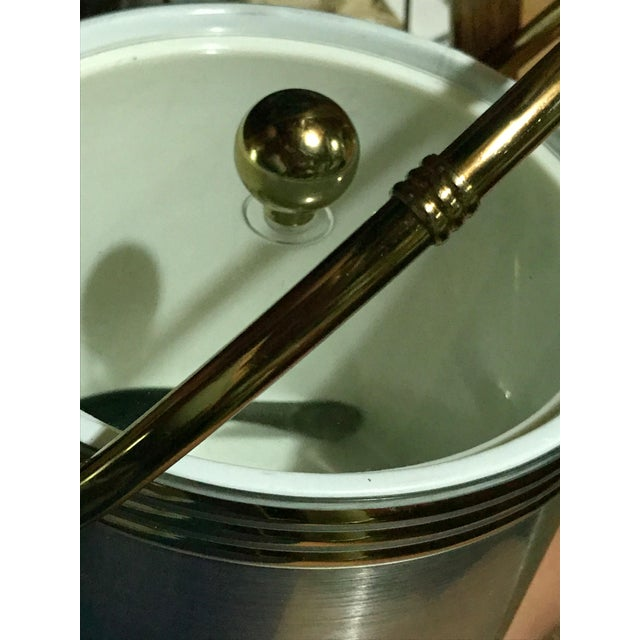 Aluminium & Gold Ice Bucket With Gold Bamboo Handle & Lucite Lid - Image 8 of 8