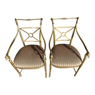 La Barge Brass Armchairs - A Pair For Sale