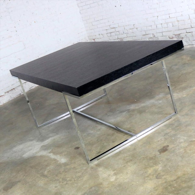 Early 21st Century Athos Dining Table by Paolo Piva for B and B Italia Chrome and Dark Brown Oak For Sale - Image 5 of 13