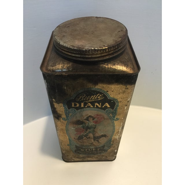 1920's Vintage Bunte Brothers Diana Stuft Confections Tin For Sale - Image 4 of 7