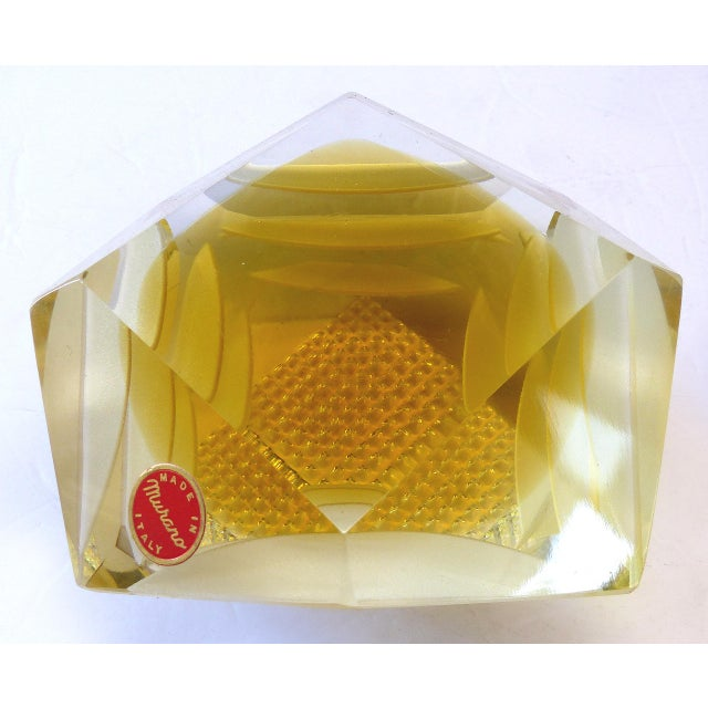 Murano Glass Brilliant Cut Diamond Shape Paperweight For Sale - Image 9 of 9