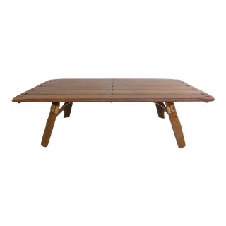 Palm Wood Coffee Table With Rope and Leather Details For Sale