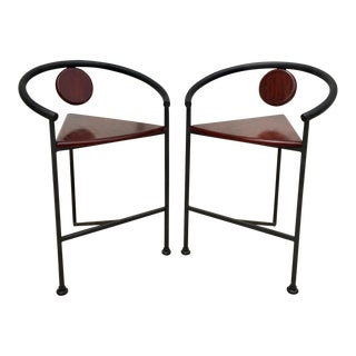 Vintage Memphis Style Counter Stools - a Pair For Sale