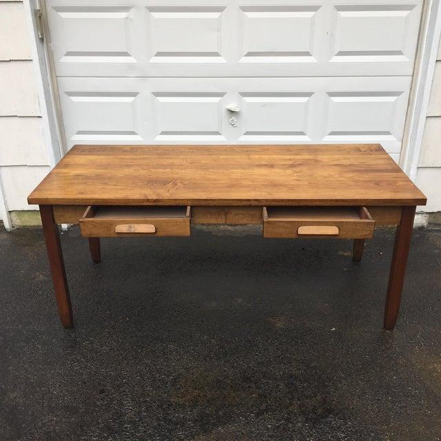 Large Vintage Modern 2-Drawer Desk - Image 4 of 11