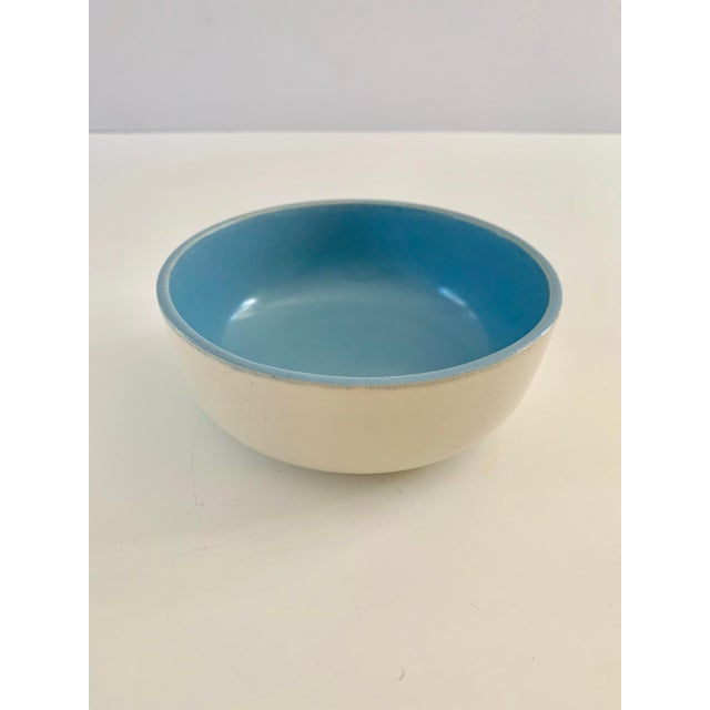 Ceramic 1940s Vintage Catalina Pottery Sky Blue and White Bowl For Sale - Image 7 of 7